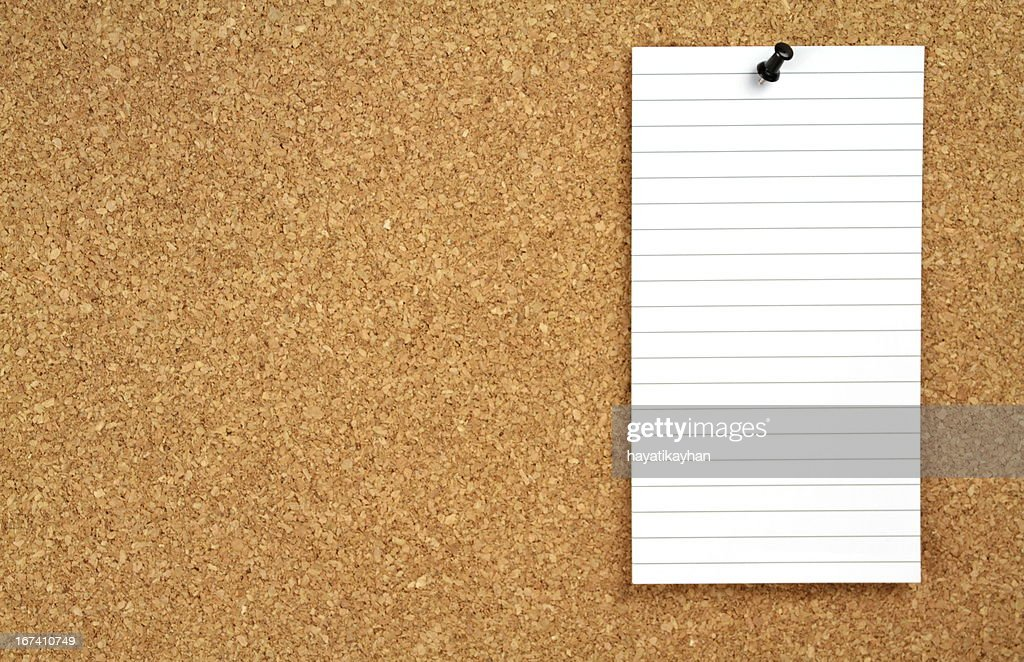 Cork notice board and blank note paper : Stock Photo
