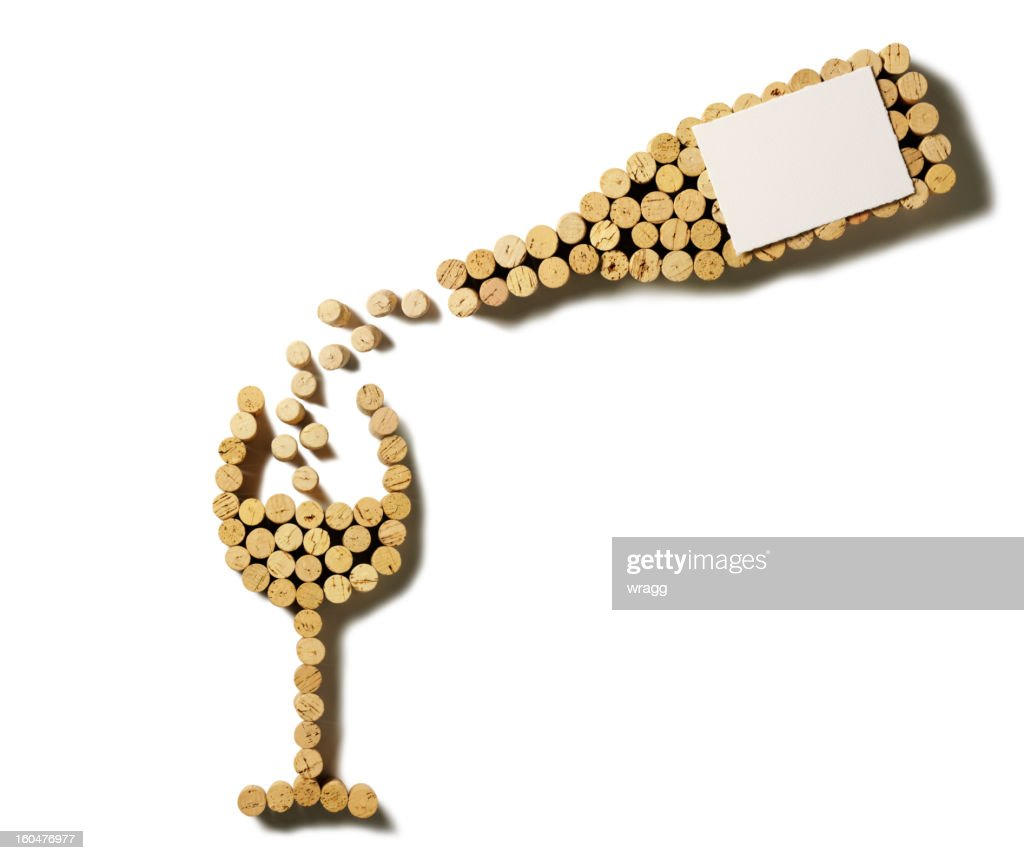 Cork Pouring Wine Bottle and Glass : Stock Photo