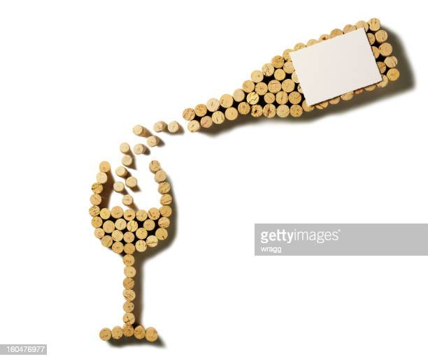 cork pouring wine bottle and glass - cork stopper stock pictures, royalty-free photos & images