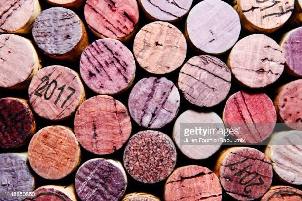 corks of wine bottles, paris, france - französische kultur stock-fotos und bilder