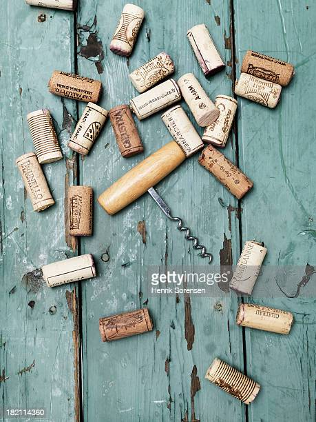 corks with corkscrew - wine cork stock photos and pictures