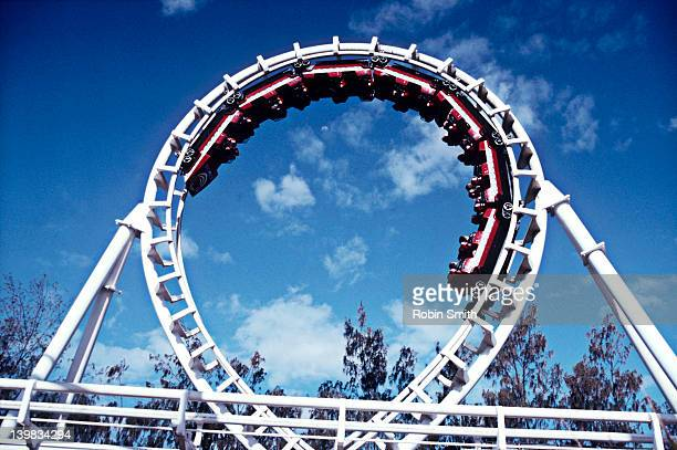 Corkscrew rollercoaster, Seaworld, Gold Coast, Queensland, Australia