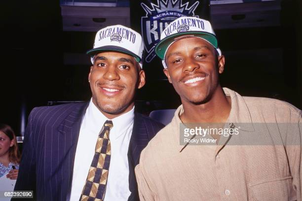 Corliss Williamson and Tyus Edney of the Sacramento Kings pose for a portrait circa 1996 at Arco Arena in Sacramento California NOTE TO USER User...