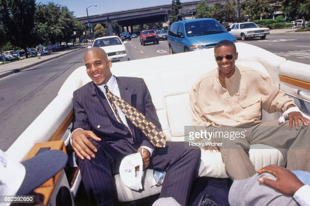 Corliss Williamson and Tyus Edney of the Sacramento Kings ride in a car circa 1996 at Arco Arena in Sacramento California NOTE TO USER User expressly...