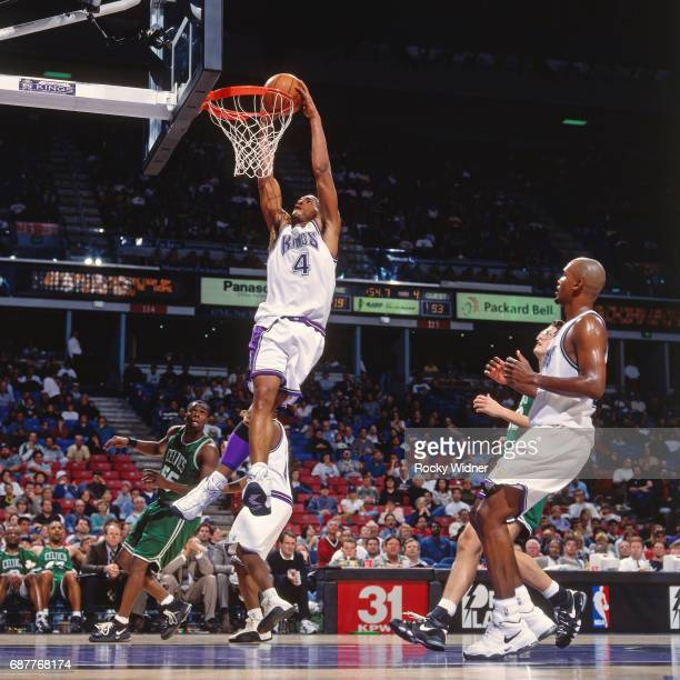 Corliss Williamson of the Sacramento Kings dunks against the Boston Celtics circa 1996 at Arco Arena in Sacramento California NOTE TO USER User...