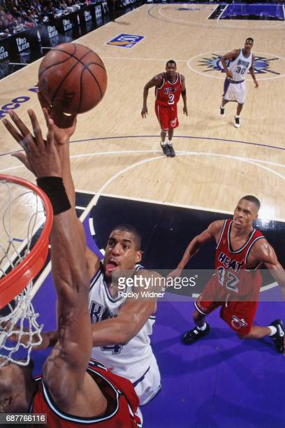 Corliss Williamson of the Sacramento Kings shoots against the Miami Heat circa 1996 at Arco Arena in Sacramento California NOTE TO USER User...