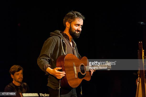 Cormac Curran and Conor O'Brien of Villagers perform on stage at Pleasance Theatre on April 27, 2015 in Edinburgh, United Kingdom