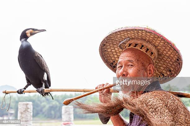 cormorant fisherman in traditional coolie hat, li river, guilin, china - asian style conical hat stock pictures, royalty-free photos & images