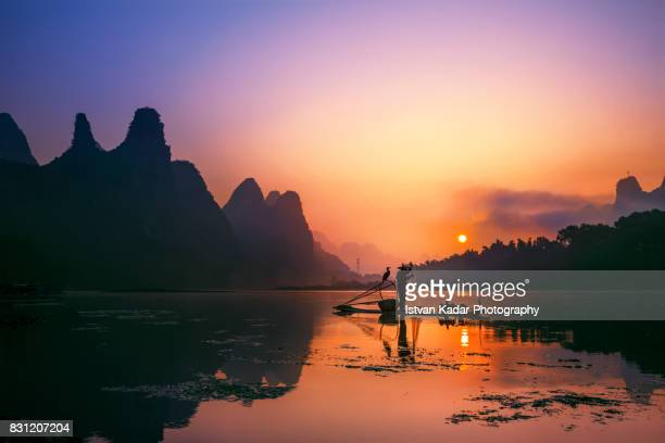 Cormorant Fisherman of the Li River in Sunset, Yangshuo, China