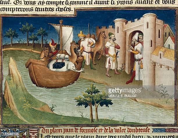 Cormos Port miniature from Livre des merveilles du monde by Marco Polo and Rustichello manuscript 2810 France 15th Century