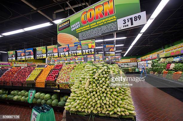 Corn and other produce at the Fairway supermarket on the Upper East Side of New York on opening day, Tuesday, July 20, 2011. Fairway supermarkets...