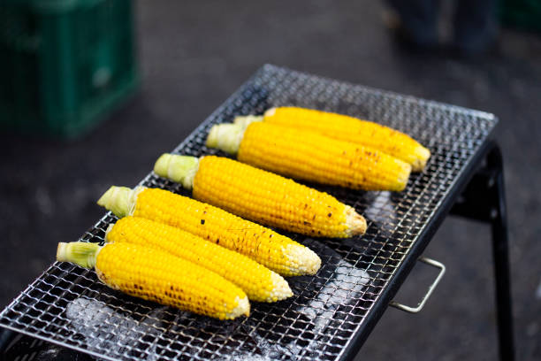 Corn barbecue with sweet and spicy sauce. Grilled corn is a popular Japanese festival food.