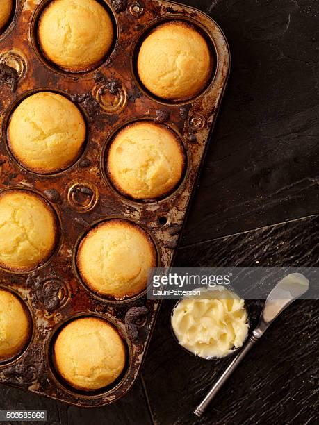 Corn Bread Muffins in Baking Tin