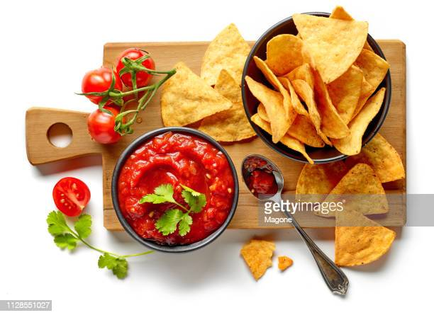 corn chips nachos salsa sauce isolated
