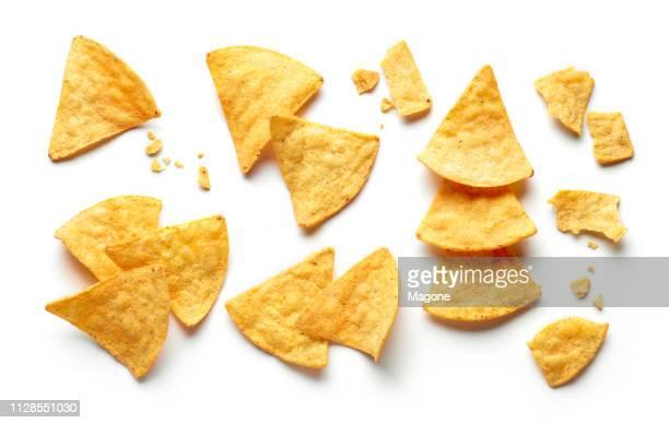 corn chips nachos isolated white background