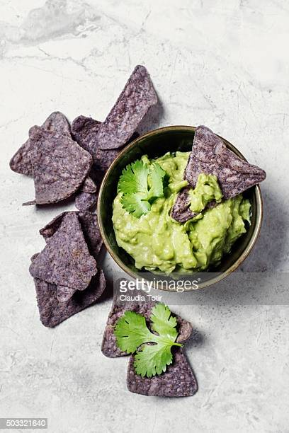Corn chips with guacamole