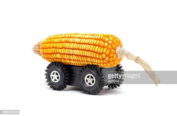 Corn cob and wheel with clean bio fuel concept