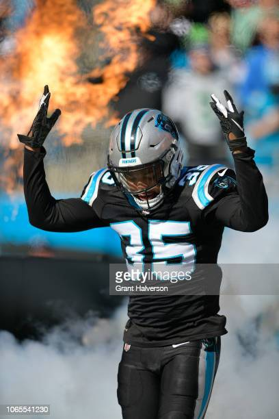 Corn Elder of the Carolina Panthers during their game against the Seattle Seahawks at Bank of America Stadium on November 25, 2018 in Charlotte,...