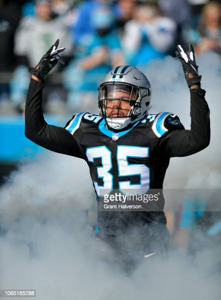 Corn Elder of the Carolina Panthers takes the field against the Seattle Seahawks at Bank of America Stadium on November 25, 2018 in Charlotte, North...