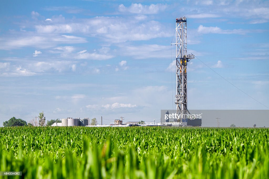 Corn Field Drilling Fracking Rig : Stock Photo