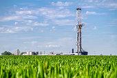 Corn Field Drilling Fracking Rig