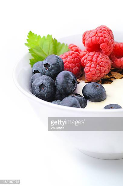 Corn flakes with blueberries and raspberries