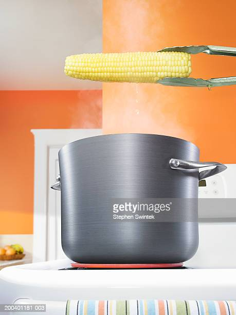 Corn on cob suspended over pot of boiling water on stove