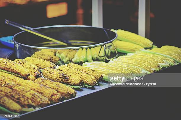 Corn On The Cobs At Market Stall For Sale