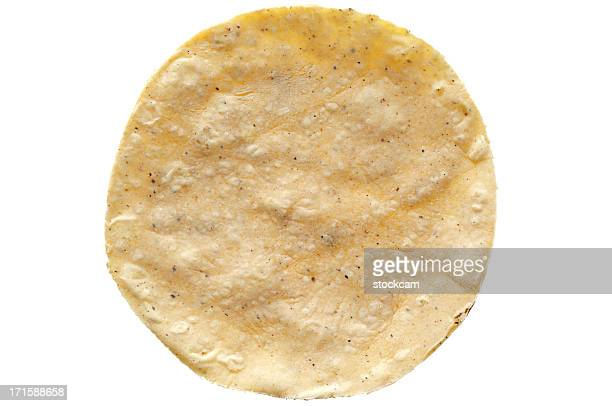 corn tortilla on white background - tortilla flatbread stock photos and pictures