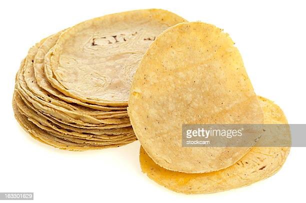 corn tortilla on white - tortilla flatbread stock pictures, royalty-free photos & images