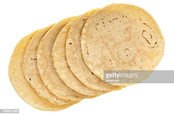 Corn tortillas on white background