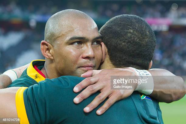 Cornal Hendricks and Bryan Habana of South Africa after the 2nd test match between South Africa and Wales at Mbombela Stadium on June 21 2014 in...