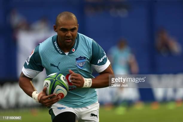 Cornal Hendricks of Bulls warms up before the Super Rugby Rd 2 match between Jaguares and Bulls at Jose Amalfitani Stadium on February 23, 2019 in...