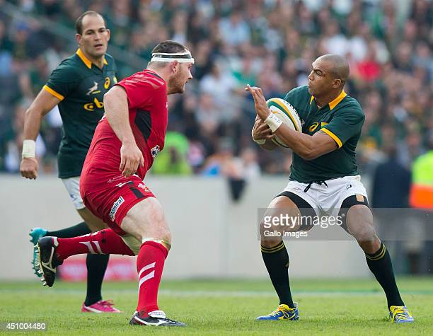 Cornal Hendricks of South Africa and Ken Owens of Wales during the 2nd test match between South Africa and Wales at Mbombela Stadium on June 21 2014...