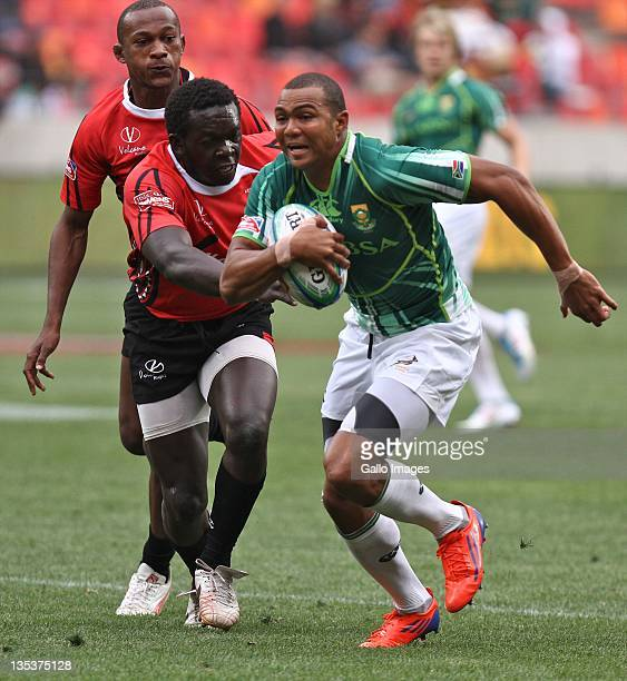 Cornal Hendricks of South Africa in action during day one of the 2011 IRB South Africa Rugby Sevens at Nelson Mandela Bay Stadium on December 9 2011...