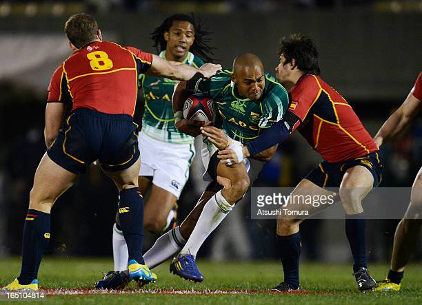 Cornal Hendricks of South Africa in action during the match against Spain on day one of the HSBC Sevens Tokyo at Prince Chichibu Stadium on March 30...