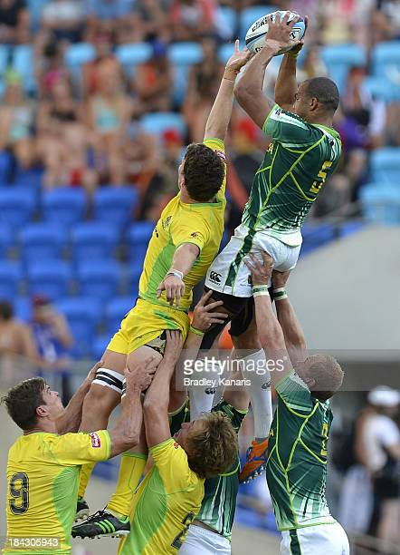 Cornal Hendricks of South Africa wins the lineout during the Gold Coast Sevens Cup semi final match between Australia and South Africa at Skilled...