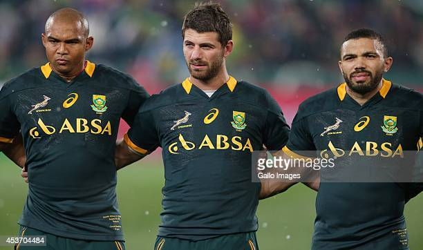 Cornal Hendricks of South Africa with Willie le Roux of South Africa and Bryan Habana of South Africa during The Castle Rugby Championship match...