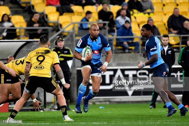 Cornal Hendricks of the Bulls during the Super Rugby Quarter Final match between the Hurricanes and the Bulls at Westpac Stadium on June 22 2019 in...