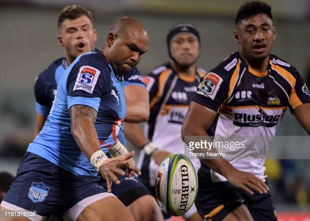 Cornal Hendricks of the Bulls kicks during the round 15 Super Rugby match between the Brumbies and the Bulls at GIO Stadium on May 24 2019 in...