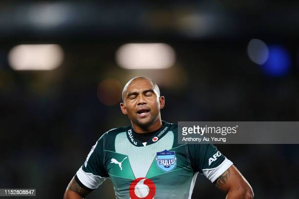 Cornal Hendricks of the Bulls reacts during the round 16 Super Rugby match between the Blues and the Bulls at Eden Park on May 31 2019 in Auckland...
