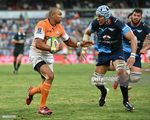 Cornal Hendricks of the Cheetahs and Victor Matfield of the Bulls during the Super Rugby match between Toyota Cheetahs and Vodacom Bulls at Free...