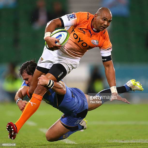 Cornal Hendricks of the Cheetahs gets tackled by Sias Ebersohn of the Force during the round nine Super Rugby match between the Force and the...
