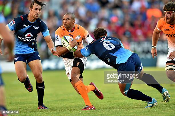 Cornal Hendricks of the Cheetahs in action during the Super Rugby match between Toyota Cheetahs and Vodacom Bulls at Free State Stadium on March 07...