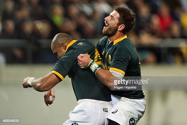 Cornal Hendricks of the Springboks is congratulated by Willie le Roux after scoring a try during The Rugby Championship match between the New Zealand...
