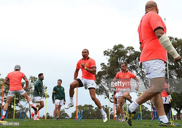 Cornal Hendricks warms up during a South African Springboks training session at Hale School on September 2 2014 in Perth Australia