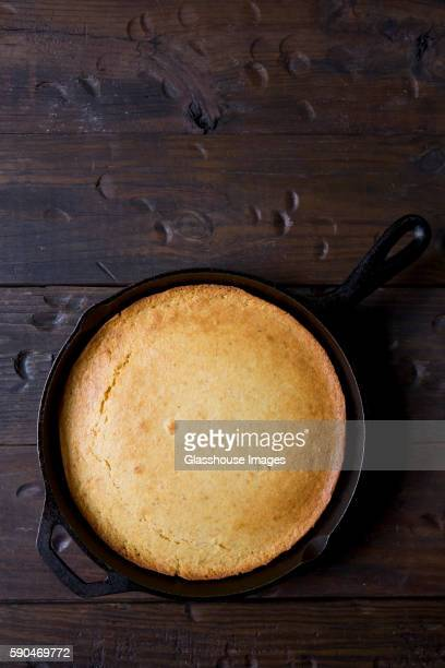 Cornbread in Skillet, High Angle View
