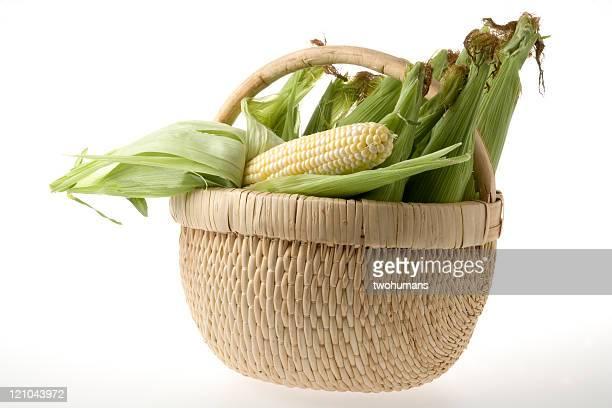 Corncobs in a wicker basket