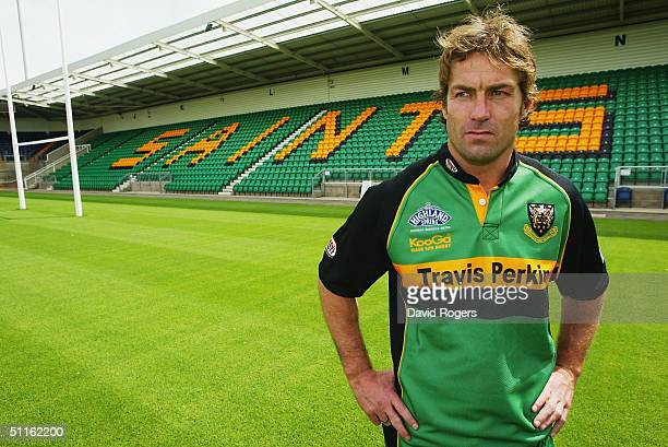 Corne Krige, the former South African Springbok captain, poses at his new club, Northampton Saints, at Franklin's Gardens on August 12, 2004 in...