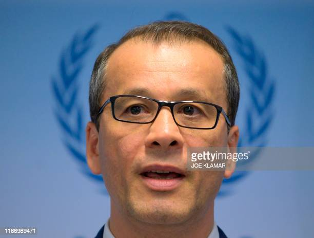 Cornel Feruta, acting Director General of the International Atomic Energy Agency , speaks during a press conference after the IAEA Board of Governors...